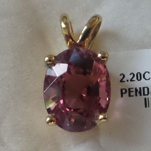 NWT Pink Tourmaline Pendant with 14K YG
